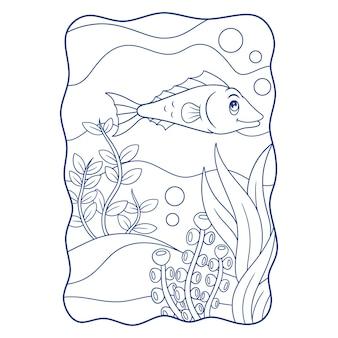 Illustration de dessin animé deux poissons-anges nageant dans le livre ou la page de la mer pour les enfants en noir et blanc