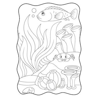 Illustration de dessin animé deux poissons jouant dans l'eau avec leur livre de bouche ou une page pour les enfants en noir et blanc