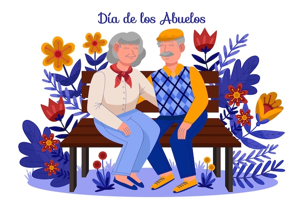 Illustration De Dessin Animé Dia De Los Abuelos Vecteur gratuit