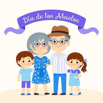 Illustration de dessin animé dia de los abuelos