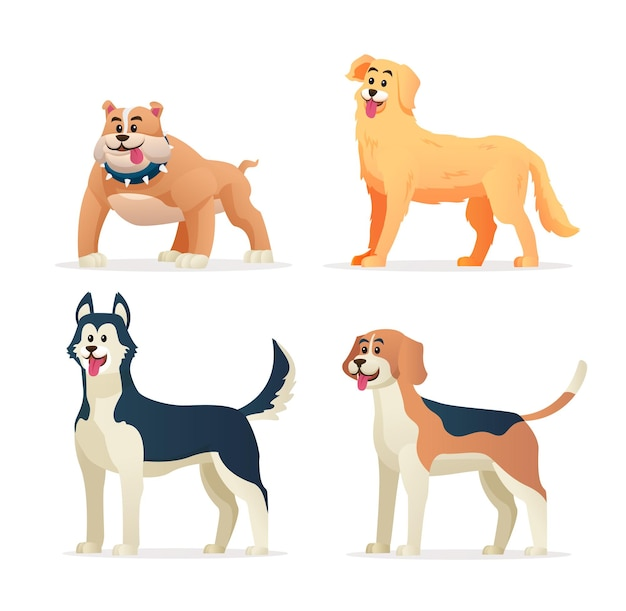 Illustration de dessin animé de différentes races de chiens