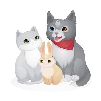 Illustration de dessin animé de différents animaux de compagnie