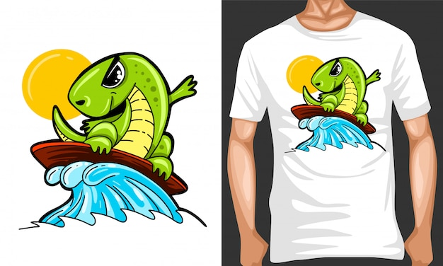 Illustration de dessin animé de dino surf et conception de marchandisage
