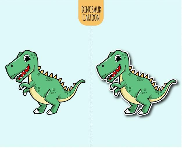 Illustration de dessin animé de dinosaure dessiné à la main avec option de conception d'autocollant