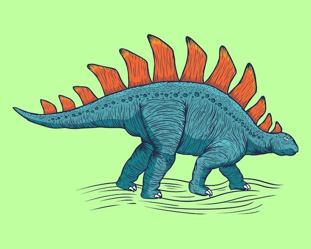 Illustration de dessin animé de dinosaure stégosaure