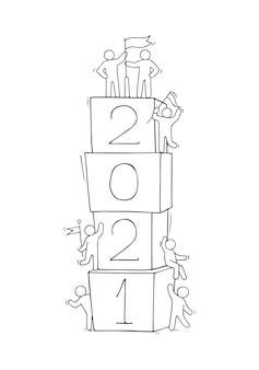 Illustration de dessin animé doodle avec des gens liitle se préparent à la célébration