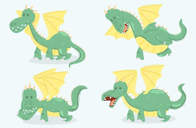 Illustration de dessin animé de dragon