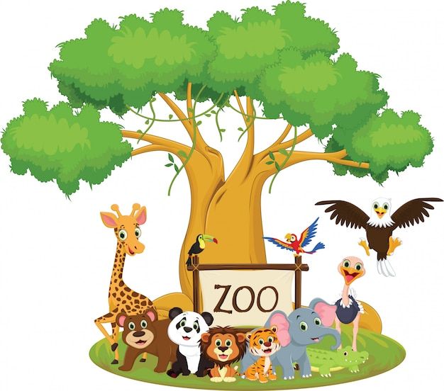 Illustration de dessin animé drôle d'animaux zoo