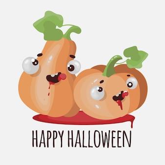 Illustration de dessin animé drôle de citrouille halloween plat