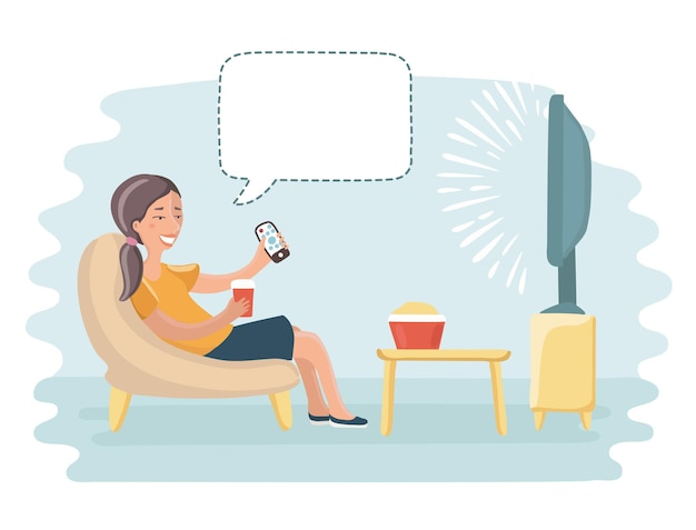 Illustration de dessin animé drôle de femme heureuse devant la télé