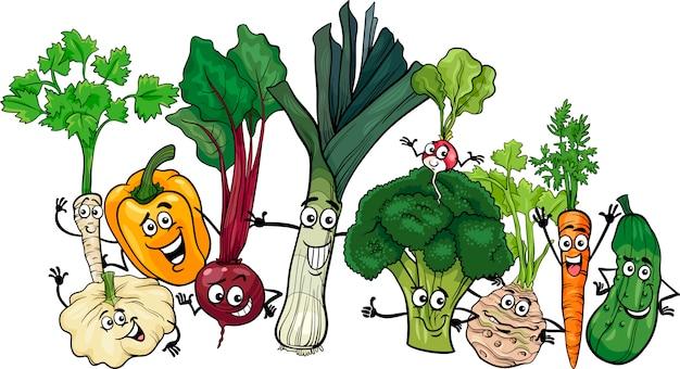 Illustration de dessin animé drôle de groupe de légumes