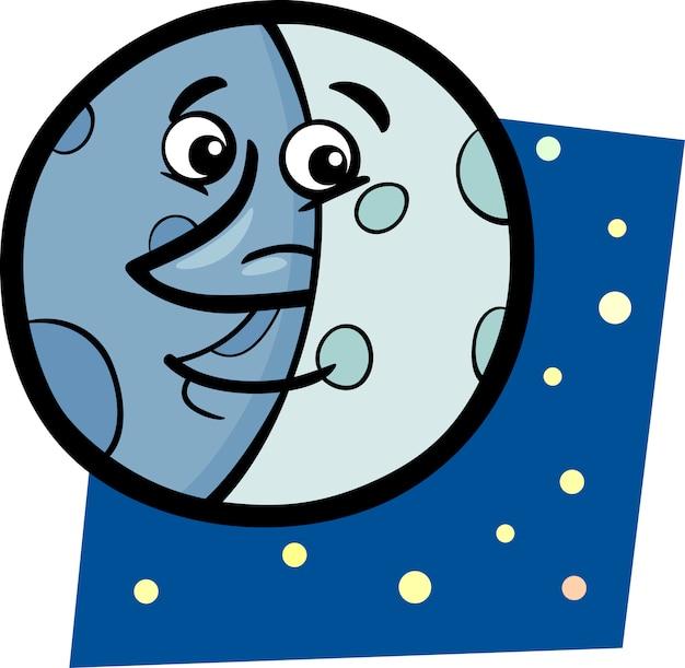 Illustration de dessin animé drôle de lune