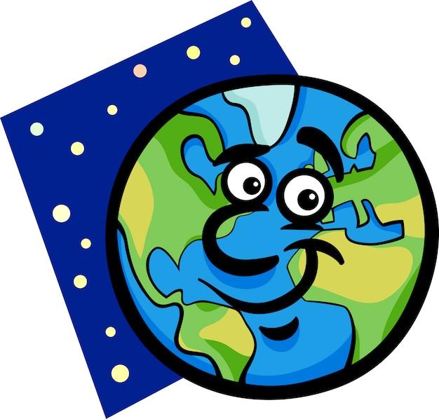 Illustration de dessin animé drôle planète terre