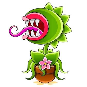 Illustration de dessin animé drôle de plante carnivore sur fond blanc