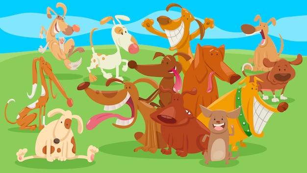 Illustration de dessin animé de drôles de chiens et de chiots