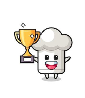L'illustration de dessin animé du chapeau de chef est heureuse de tenir le trophée d'or, un design de style mignon pour un t-shirt, un autocollant, un élément de logo