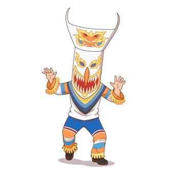 Illustration de dessin animé du fantôme de phi ta khon au festival de bun luang, au nord-est de la thaïlande.