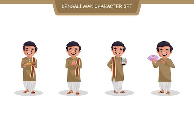 Illustration de dessin animé du jeu de caractères bengali man