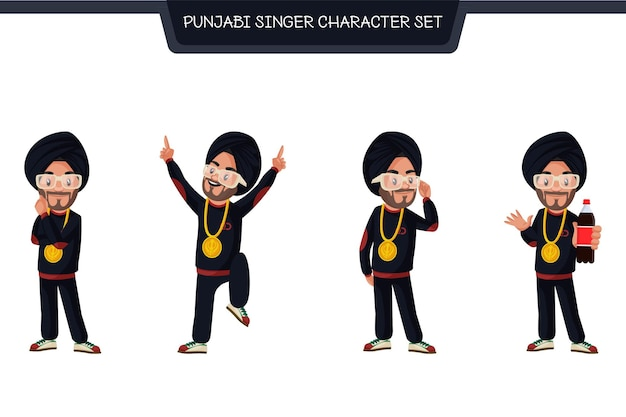 Illustration de dessin animé du jeu de caractères de chanteur punjabi