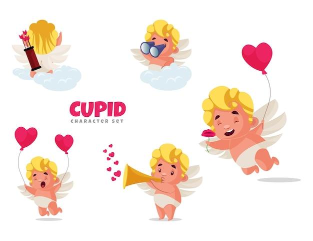 Illustration de dessin animé du jeu de caractères cupidon