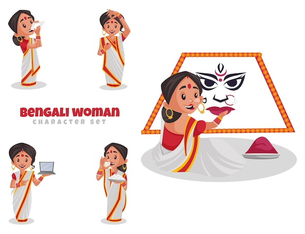 Illustration de dessin animé du jeu de caractères de femme bengali