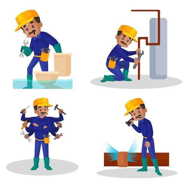 Illustration de dessin animé du jeu de caractères plombier