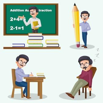 Illustration de dessin animé du jeu de caractères de professeur masculin