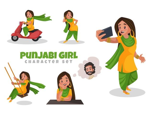 Illustration de dessin animé du jeu de caractères punjabi girl