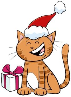 Illustration de dessin animé du personnage animal de chat avec cadeau le temps de noël