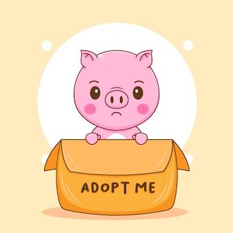 Illustration de dessin animé du personnage de cochon mignon à l'intérieur d'une boîte