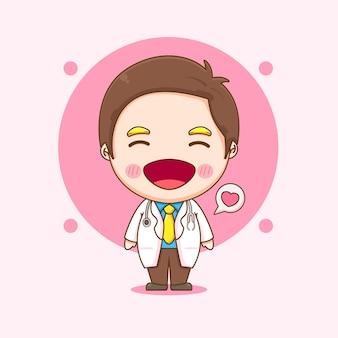 Illustration de dessin animé du personnage de docteur mignon