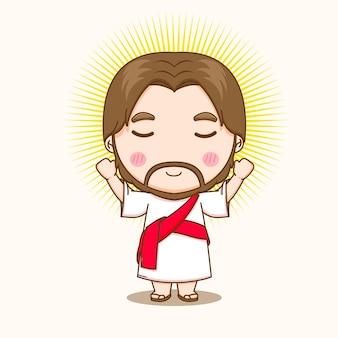 Illustration de dessin animé du personnage de jésus mignon