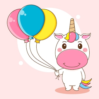 Illustration de dessin animé du personnage de licorne mignon tenant un ballon