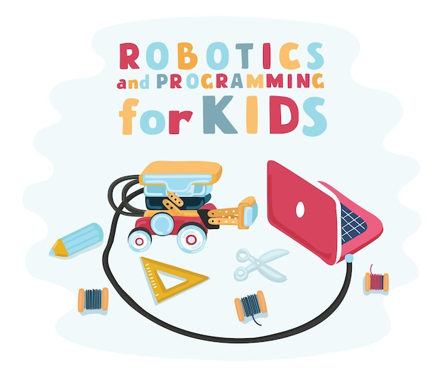 Illustration de dessin animé du personnel pour ed robotics pour enfants, concepteur de robot.