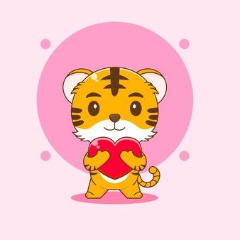 L'illustration de dessin animé du tigre mignon embrasse l'amour de coeur