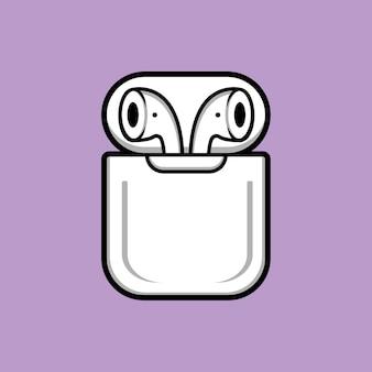 Illustration de dessin animé d'écouteurs sans fil
