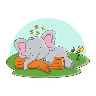 Illustration de dessin animé d'un éléphant mignon endormi