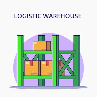 Illustration de dessin animé d'empilage d'entrepôt logistique. concept d'icône de logistique isolé.