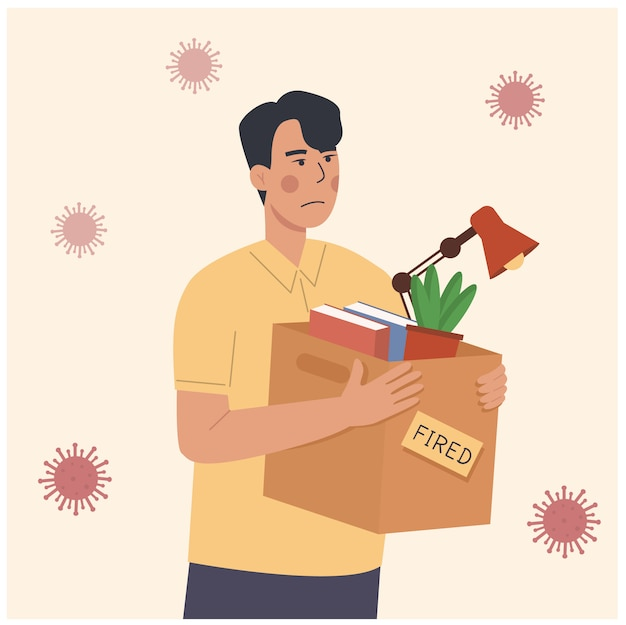 Illustration de dessin animé d'un employé licencié pendant la pandémie. perte d'emploi à cause du verrouillage de l'épidémie covid-19 de la crise du coronavirus. homme licencié transportant une boîte avec des choses. concept de chômage, réduction de l'emploi
