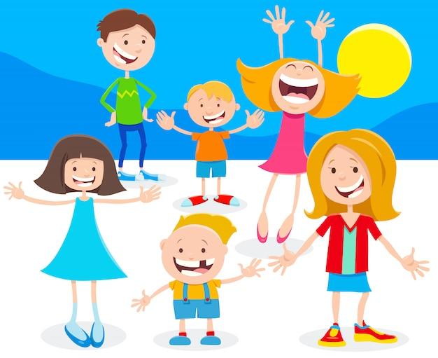 Illustration de dessin animé d'enfants ou d'adolescents heureux