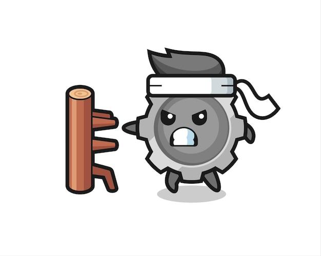 Illustration de dessin animé d'engrenage en tant que combattant de karaté, design de style mignon pour t-shirt, autocollant, élément de logo