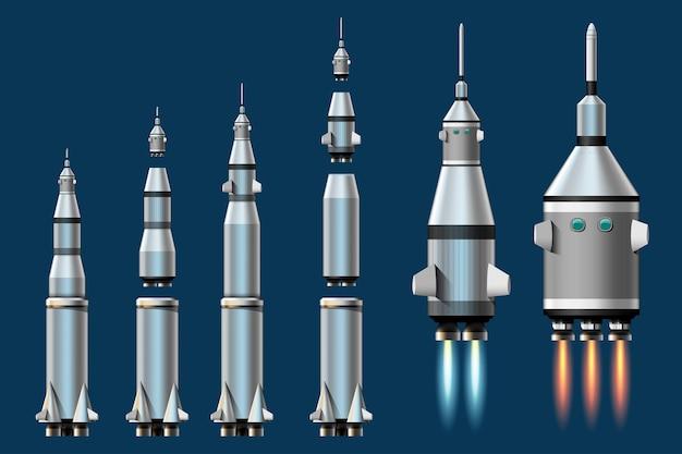 Illustration de dessin animé ensemble isolé de lancement de fusée. fusées de mission spatiale avec de la fumée. illustration dans un style plat