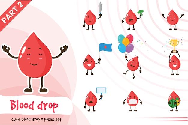 Illustration de dessin animé de l'ensemble mignon de goutte de sang