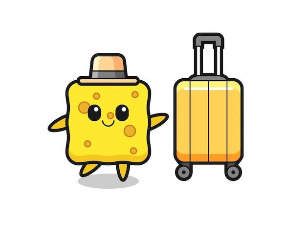 Illustration de dessin animé d'éponge avec des bagages en vacances, design de style mignon pour t-shirt, autocollant, élément de logo