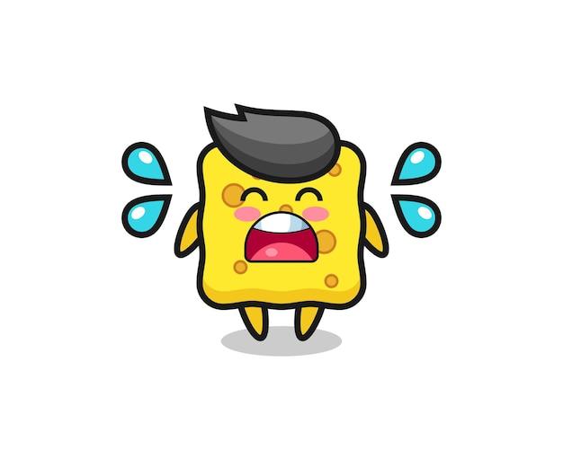 Illustration de dessin animé d'éponge avec un geste qui pleure, design de style mignon pour t-shirt, autocollant, élément de logo