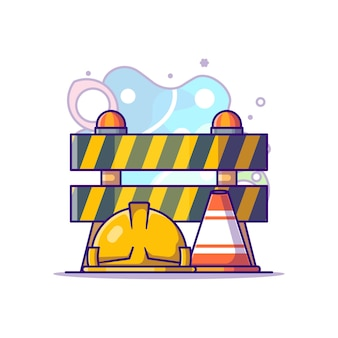 Illustration de dessin animé d'équipement de constructeur de travail. concept de fête du travail blanc isolé. style de bande dessinée plat