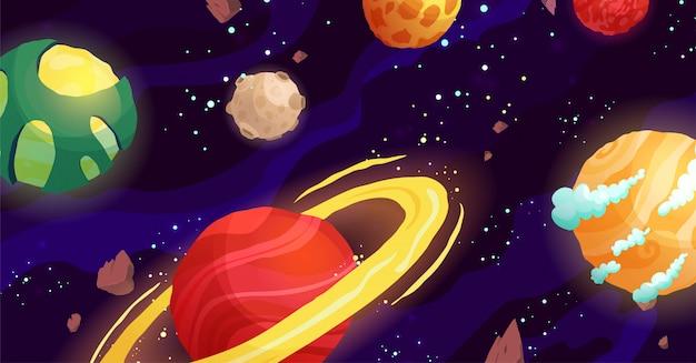 Illustration de dessin animé de l'espace avec différentes planètes. galaxie, cosmos, élément d'univers pour jeu d'ordinateur, livre pour enfants.