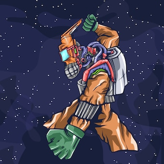 Illustration de dessin animé espace robot