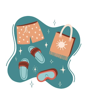 Illustration de dessin animé d'été de vecteur avec des pantoufles ou des tongs short de bain et sac de plage