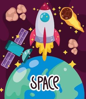 Illustration de dessin animé d'exploration de comète satellite vaisseau spatial planète terre